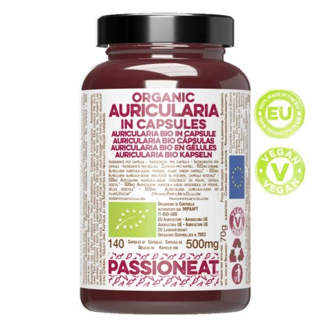 Auricularia fungo europeo Bio in capsule veg - 140 capsule da 500mg