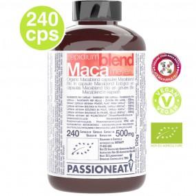 Maca Blend con Maca Nera Rossa Viola Gialla Crude Biologiche - 240 capsule veg da 500g